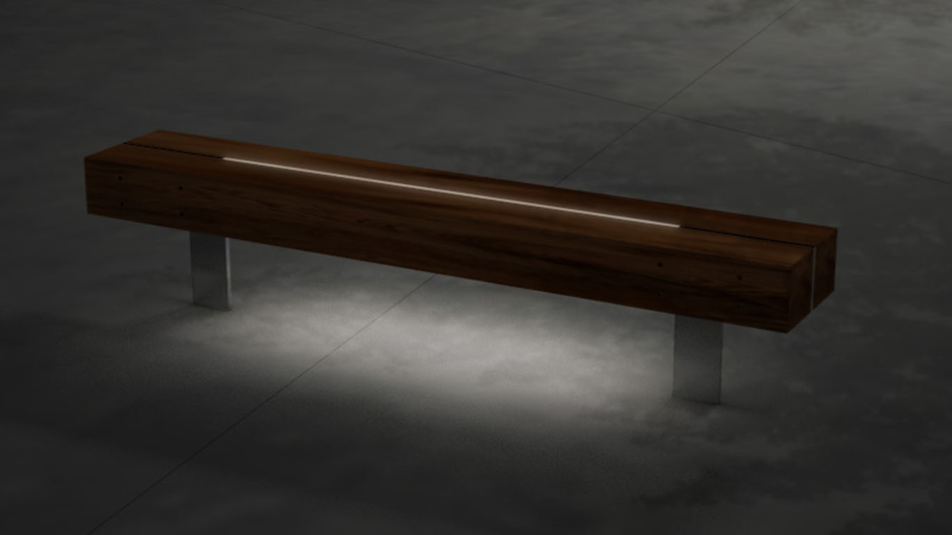 Bench with lighting recessed into timber battens