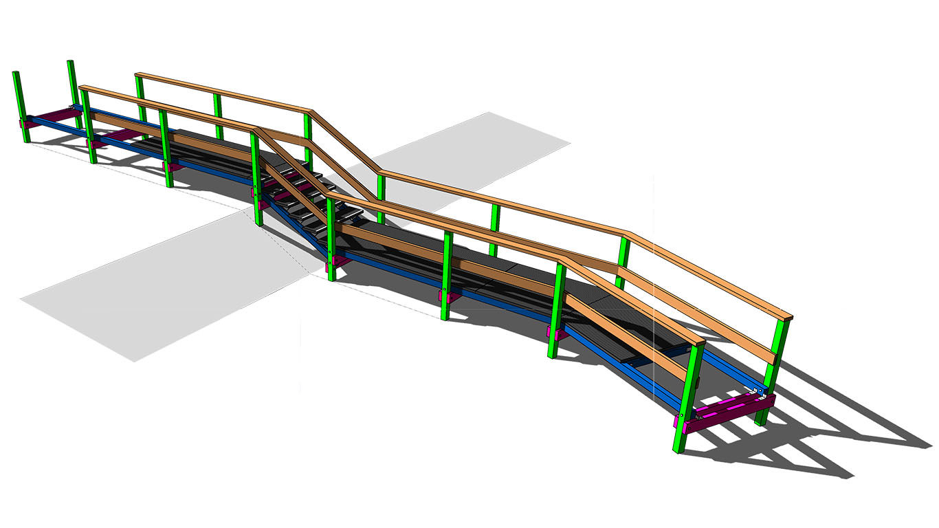 3D model of the composite stair design for National Parks – materials are colour coded