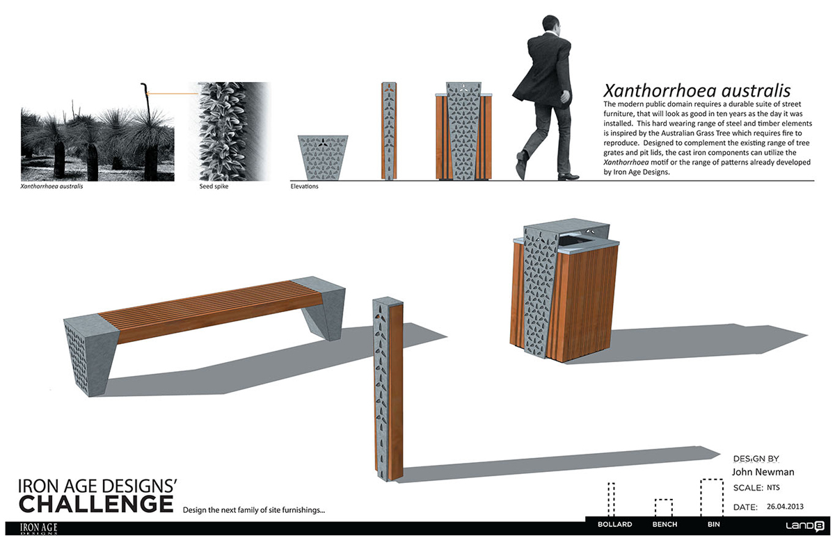 The winning entry in the Land8   Iron Age furniture design competition. Xantho Furniture Range   NewScape Design