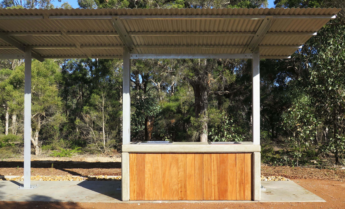 Precast concrete and timber barbecue and skillion shelter, Wiannamatta Regional Park