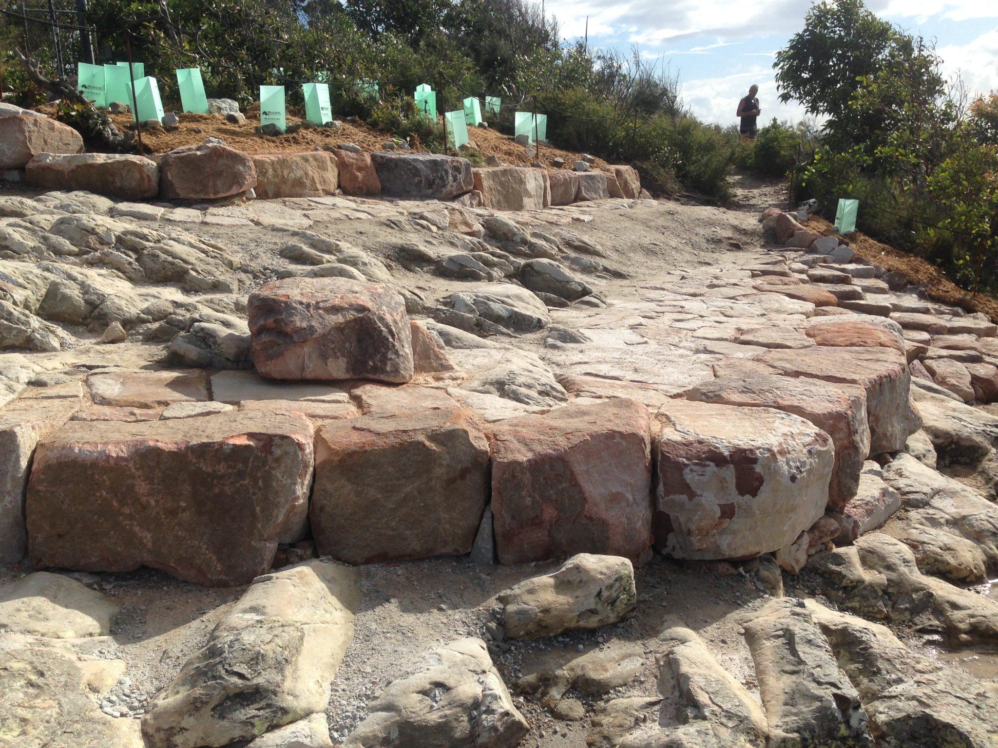 Local stone creates a natural platform
