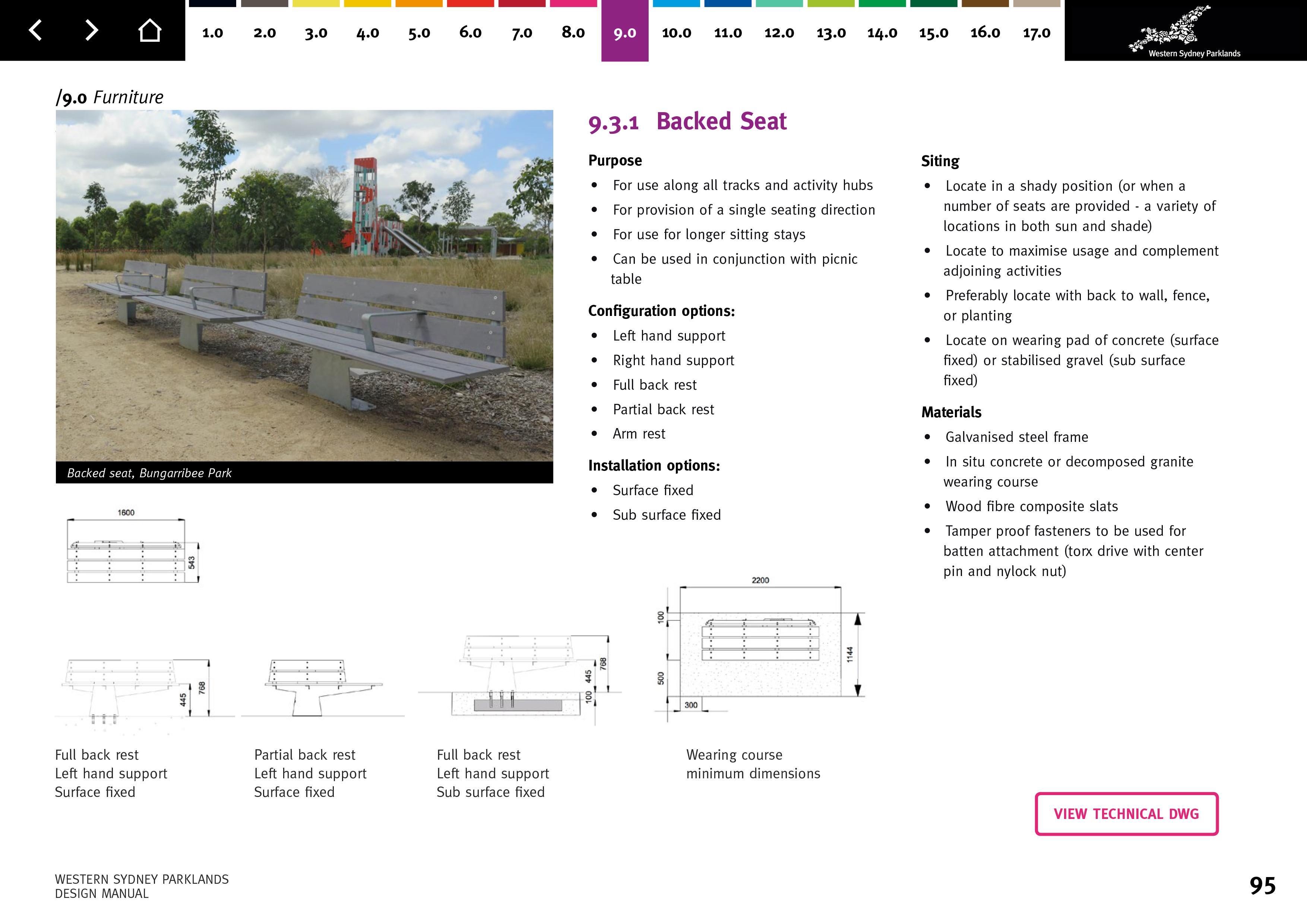 Western Sydney Parklands Design Manual Backed Seat