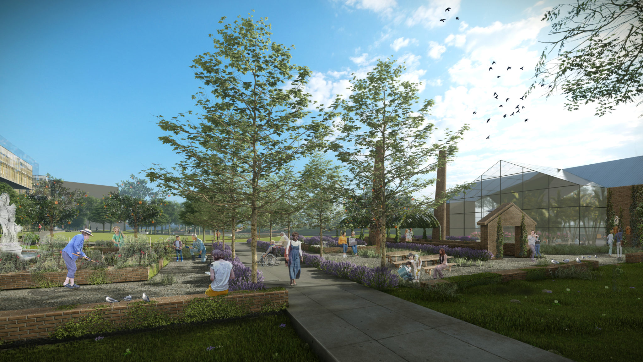 Community garden and cafe provides benefits of connection. Designs incorporated recycled materials to acknowledge the historic houses that once occupied the site.