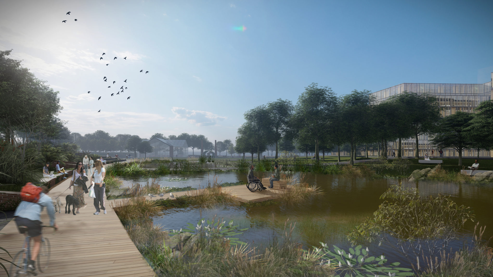 Biophlic design inspired hospital grounds bring the health benefits of nature to patients and the broader community