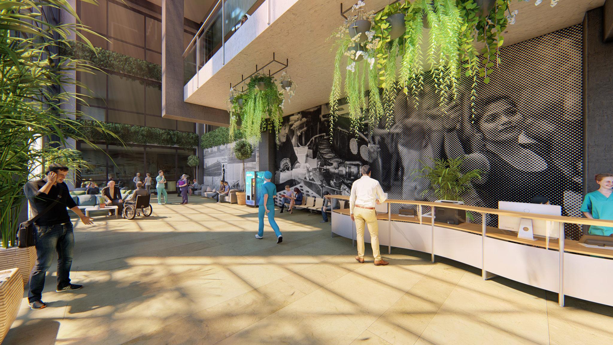 Foyer interpretation wall showcases area's cultural history