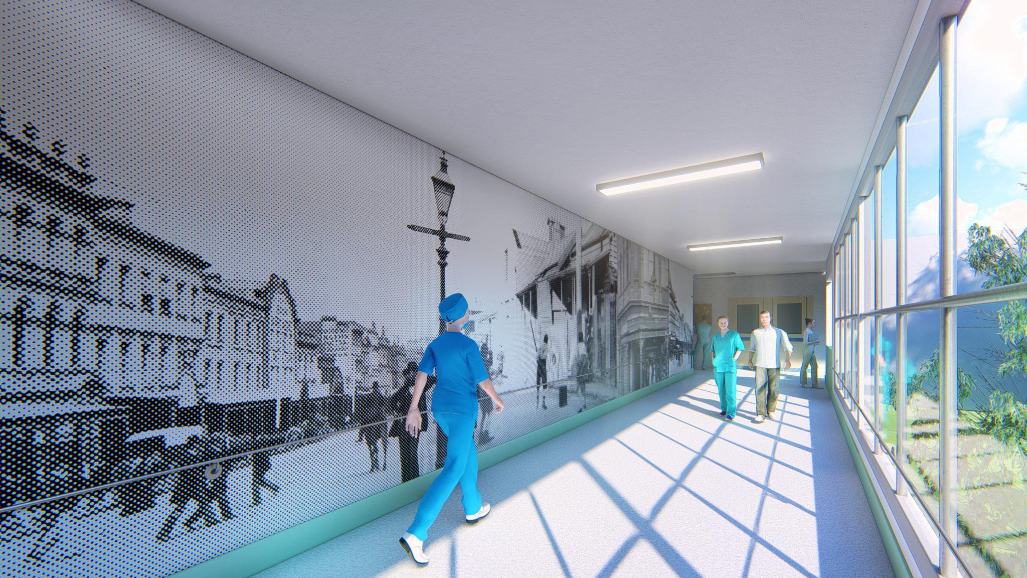 Interpretation corridor filled with natural light
